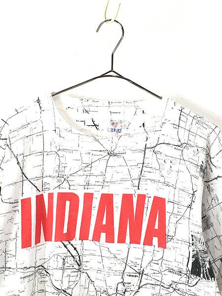 [2] 古着 90s 「INDIANA」 マップ 地図 グラフィック オールオーバー Tシャツ XL位 古着