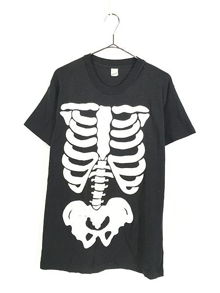 [1] 古着 80s USA製 BONE ボーン 骨 だまし絵 アート 蓄光 Tシャツ XL 古着