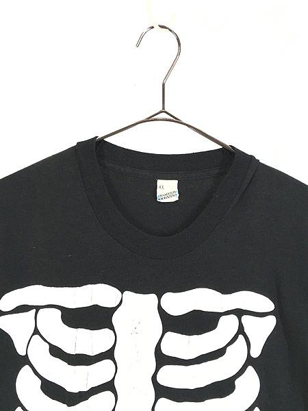 [2] 古着 80s USA製 BONE ボーン 骨 だまし絵 アート 蓄光 Tシャツ XL 古着
