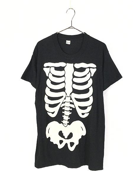 [1] 古着 80s USA製 BONE ボーン 骨 だまし絵 アート 蓄光 Tシャツ XL 美品!! 古着