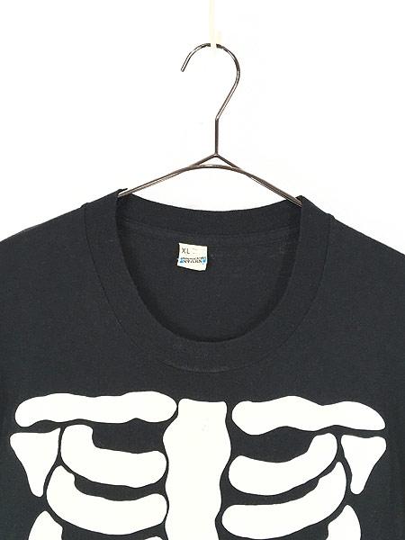 [2] 古着 80s USA製 BONE ボーン 骨 だまし絵 アート 蓄光 Tシャツ XL 美品!! 古着