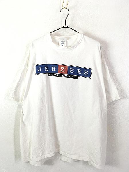 [1] 古着 90s USA製 JERZEES 「JERZEES」 BIG ボックスロゴ Tシャツ XL 古着