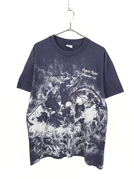 [1] 古着 90s USA製 Pigeon River Wildwater ラフティング グラフィック Tシャツ L 古着