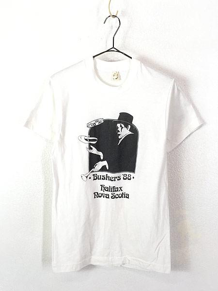 [1] 古着 80s Canada製 ピエロ 道化師 モノトーン アート Tシャツ M 古着