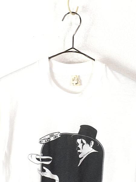 [2] 古着 80s Canada製 ピエロ 道化師 モノトーン アート Tシャツ M 古着