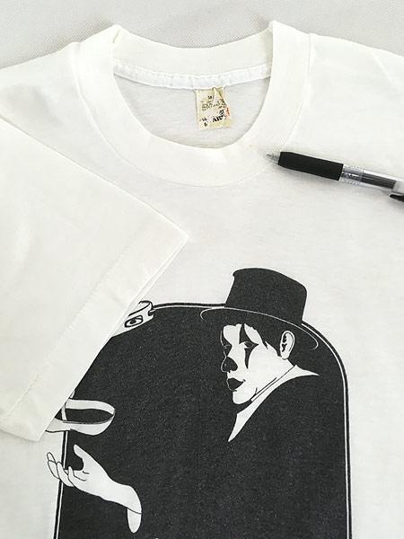 [4] 古着 80s Canada製 ピエロ 道化師 モノトーン アート Tシャツ M 古着