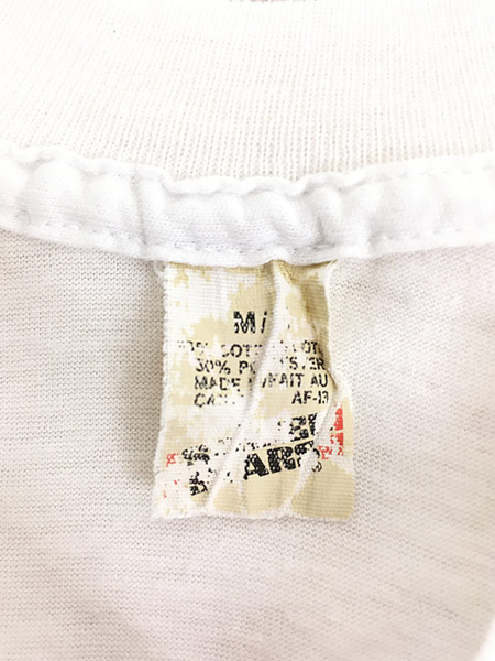 [8] 古着 80s Canada製 ピエロ 道化師 モノトーン アート Tシャツ M 古着