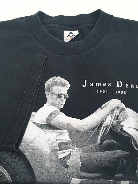 [4] 古着 90s James Dean スポーツカー フォト アート 追悼 Tシャツ XL 古着