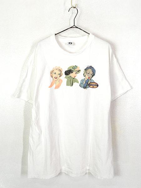 [1] 古着 90s USA製 Fossil 女性 貴婦人 アート Tシャツ XL 古着