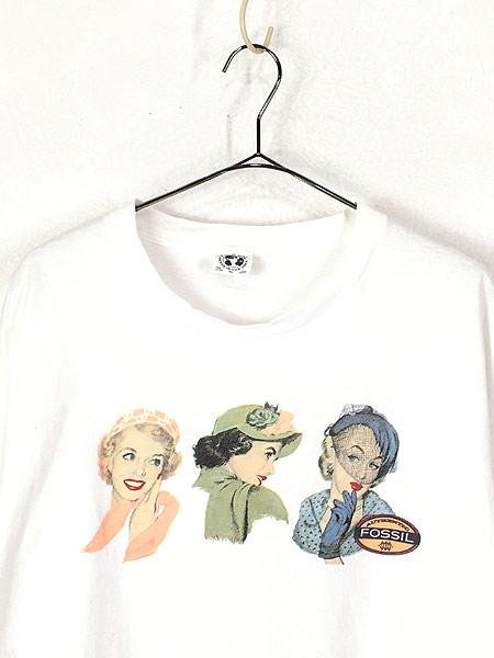 [2] 古着 90s USA製 Fossil 女性 貴婦人 アート Tシャツ XL 古着