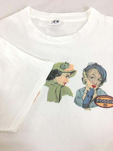 [4] 古着 90s USA製 Fossil 女性 貴婦人 アート Tシャツ XL 古着