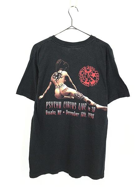 [3] 古着 90s KISS 「Psycho Circus Live in 30」 ライブ メタル ロック バンド Tシャツ L 古着