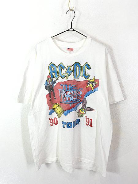 [1] 古着 90s USA製 AC/DC 「The Razors Edge」 ツアー ヘヴィ メタル ロック バンド Tシャツ XL 古着