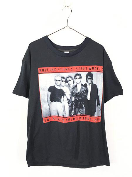 [1] 古着 80s USA製 Rolling Stones 「Steel Wheels」 Budweiser ツアー ロック バンド Tシャツ L 古着
