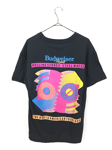 [3] 古着 80s USA製 Rolling Stones 「Steel Wheels」 Budweiser ツアー ロック バンド Tシャツ L 古着