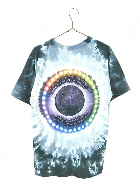 [3] 古着 00s USA製 Pink Floyd 「The Dark Side Of The Moon」 狂気 プログレ ロック バンド タイダイ Tシャツ M 古着