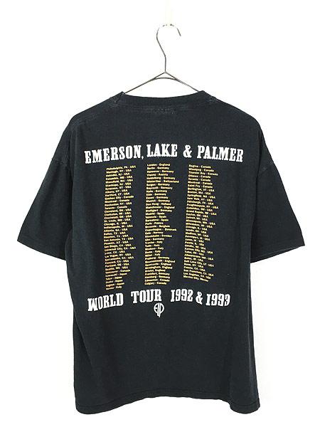 [3] 古着 90s USA製 ELP Emerson Lake & Palmer 「The Atlantic Years」 ツアー プログレ ロック バンド Tシャツ XL 古着