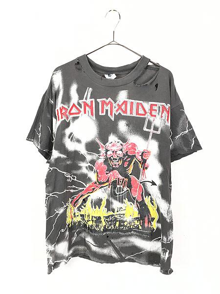 [1] 古着 90s USA製 IRON MAIDEN 豪華 オールオーバー ヘヴィ メタル ロック バンド Tシャツ BORO L 古着