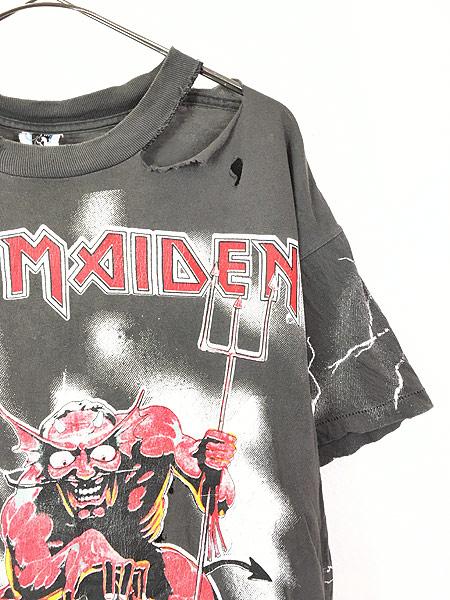 [3] 古着 90s USA製 IRON MAIDEN 豪華 オールオーバー ヘヴィ メタル ロック バンド Tシャツ BORO L 古着