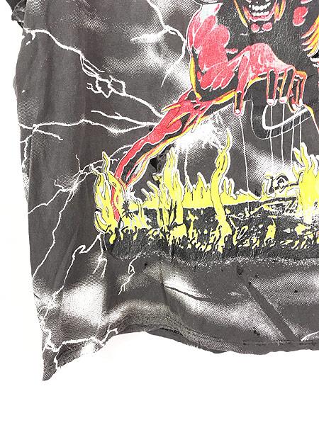 [4] 古着 90s USA製 IRON MAIDEN 豪華 オールオーバー ヘヴィ メタル ロック バンド Tシャツ BORO L 古着