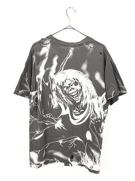 [5] 古着 90s USA製 IRON MAIDEN 豪華 オールオーバー ヘヴィ メタル ロック バンド Tシャツ BORO L 古着