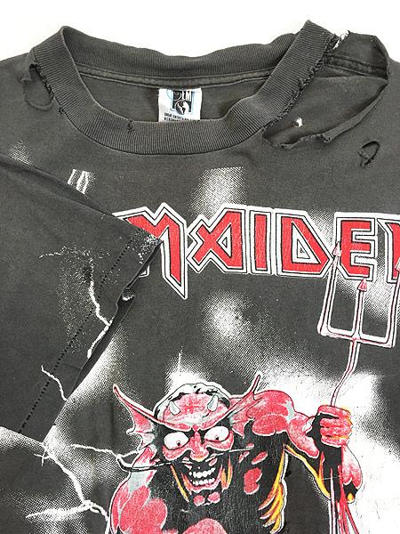 [6] 古着 90s USA製 IRON MAIDEN 豪華 オールオーバー ヘヴィ メタル ロック バンド Tシャツ BORO L 古着