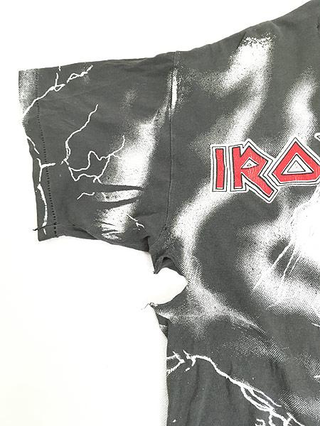 [7] 古着 90s USA製 IRON MAIDEN 豪華 オールオーバー ヘヴィ メタル ロック バンド Tシャツ BORO L 古着
