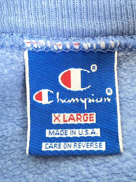 [6] 古着 90s USA製 Champion ワンポイント 前V スウェット トレーナー 水色 XL 古着
