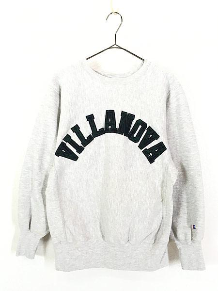 [1] 古着 90s USA製 Champion Reverse Weave 「VILLANOVA」 チェック リバース スウェット M 古着