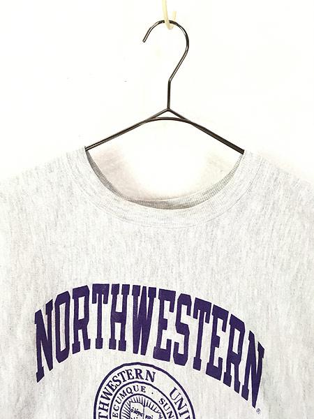 [2] 古着 90s USA製 Champion 「NORTH WESTERN」 アーチ 3段 リバース スウェット XL 古着