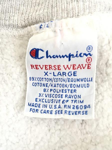 [6] 古着 90s USA製 Champion 「NORTH WESTERN」 アーチ 3段 リバース スウェット XL 古着