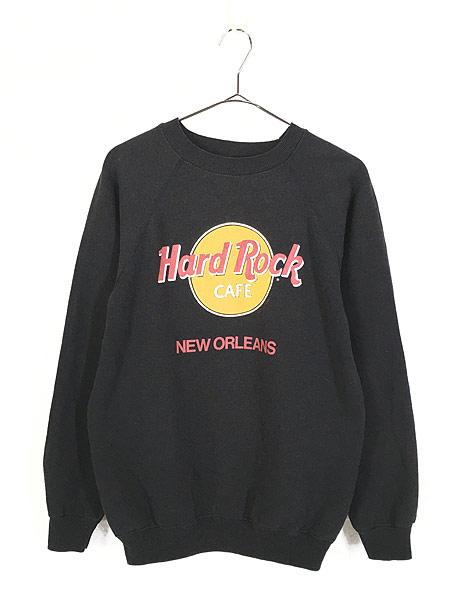 [1] 古着 80s USA製 Hard Rock Cafe 「NEW ORLEANS」 BIGロゴ ハードロック スウェット M 古着