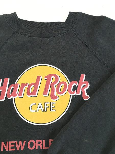 [5] 古着 80s USA製 Hard Rock Cafe 「NEW ORLEANS」 BIGロゴ ハードロック スウェット M 古着