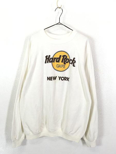 [1] 古着 80s USA製 Hard Rock Cafe 「NEW YORK」 BIGロゴ ハードロック スウェット XL 古着