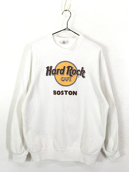 [1] 古着 90s USA製 Hard Rock Cafe 「BOSTON」 BIGロゴ ハードロック スウェット XL 古着
