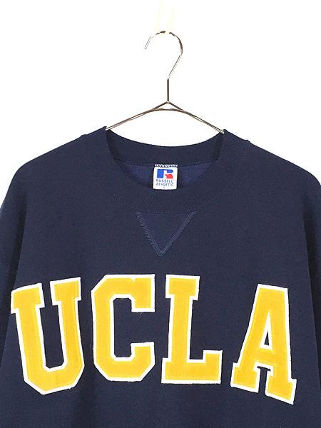 [2] 古着 90s USA製 Russell 「UCLA」 前V カレッジ スウェット トレーナー L 古着