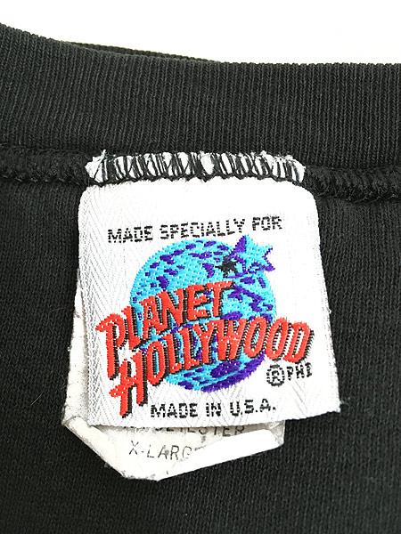 [6] 古着 90s USA製 PLANET HOLLYWOOD 「DALLAS」 BIGロゴ 前V スウェット 黒 XL 古着