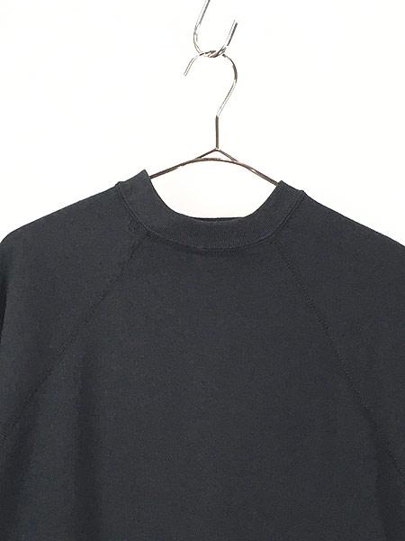 [2] 古着 80s USA製 無地 ソリッド 半袖 スウェット トレーナー 黒 L 古着