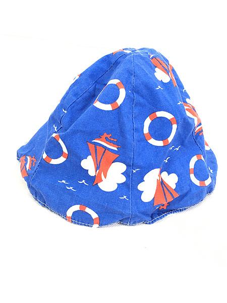 [3] キッズ 古着 70s ヨット 浮き輪 マリン 総柄 6パネル チューリップ ハット 帽子 3歳位 子供服 古着