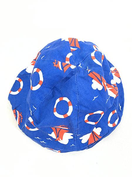 [4] キッズ 古着 70s ヨット 浮き輪 マリン 総柄 6パネル チューリップ ハット 帽子 3歳位 子供服 古着