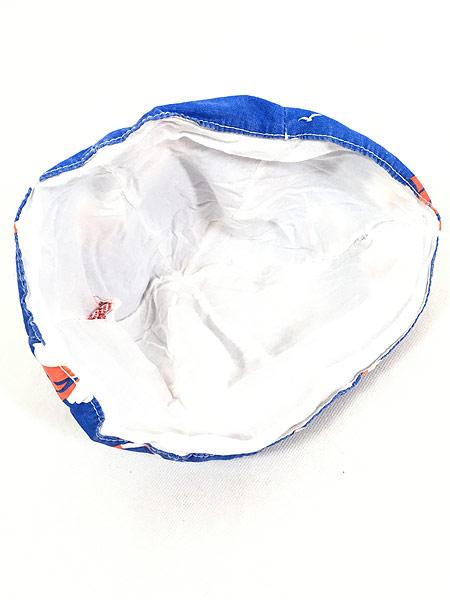 [5] キッズ 古着 70s ヨット 浮き輪 マリン 総柄 6パネル チューリップ ハット 帽子 3歳位 子供服 古着