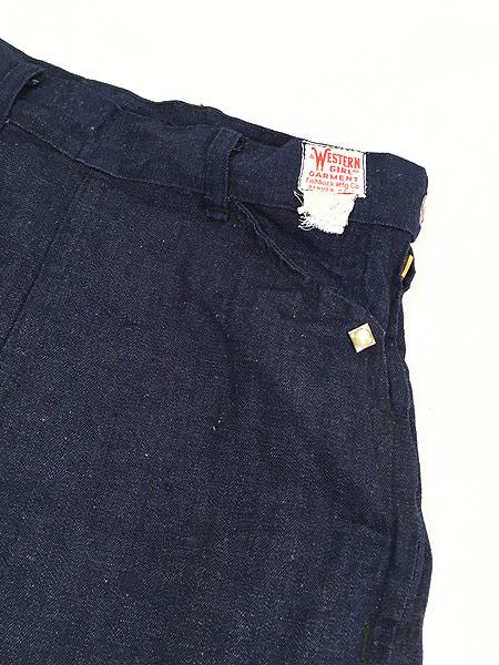 [4] キッズ 古着 60s WESTERN GIRL 濃紺 デニム ウエスタン パンツ 美品!! 7歳以上 子供服 古着