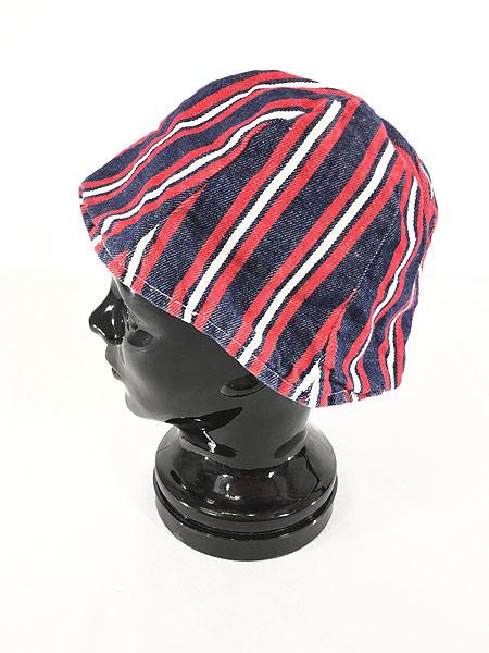 [2] キッズ 古着 70s Budweiser 総柄 × ストライプ リバーシブル チューリップ ハット キャップ 帽子 3歳以上 子供服 古着