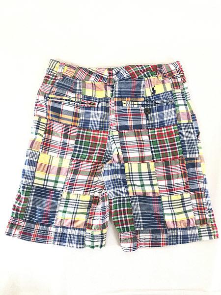[2] キッズ 古着 POLO Ralph Lauren ラルフ マドラス チェック パッチワーク ショーツ ショート パンツ 6歳位 子供服 古着