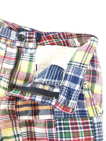 [4] キッズ 古着 POLO Ralph Lauren ラルフ マドラス チェック パッチワーク ショーツ ショート パンツ 6歳位 子供服 古着