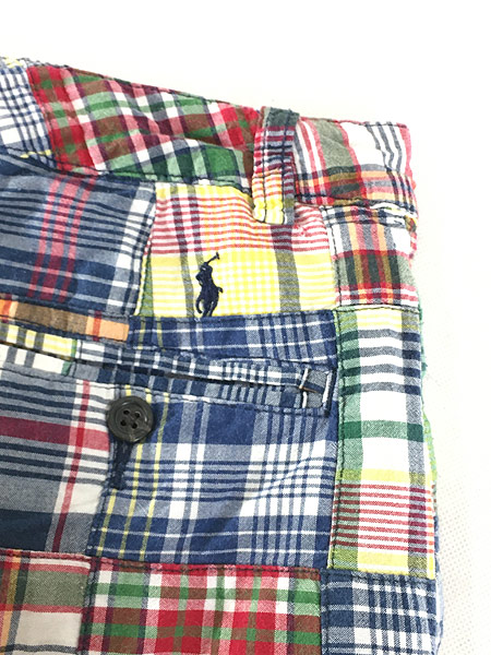 [6] キッズ 古着 POLO Ralph Lauren ラルフ マドラス チェック パッチワーク ショーツ ショート パンツ 6歳位 子供服 古着