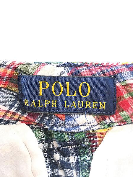 [7] キッズ 古着 POLO Ralph Lauren ラルフ マドラス チェック パッチワーク ショーツ ショート パンツ 6歳位 子供服 古着