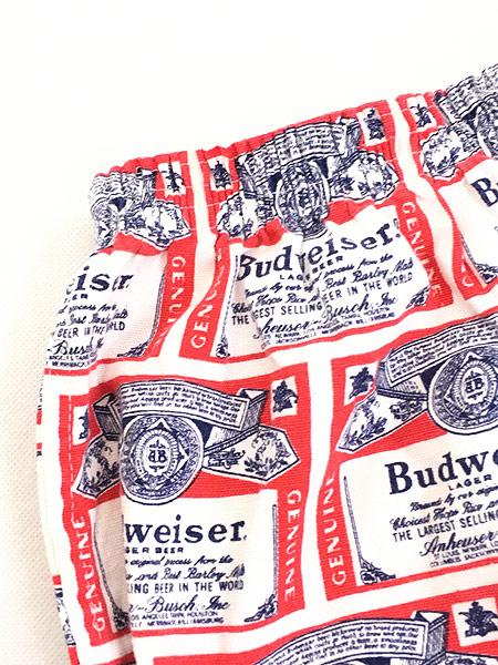 [3] レディース 古着 80s Budweisr バドワイザー 総柄 オールド ショート ホット パンツ L 古着