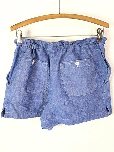 [2] レディース 古着 90s Ralph Lauren ラルフ ブルー シャンブレー ショーツ ショート パンツ XL位 古着