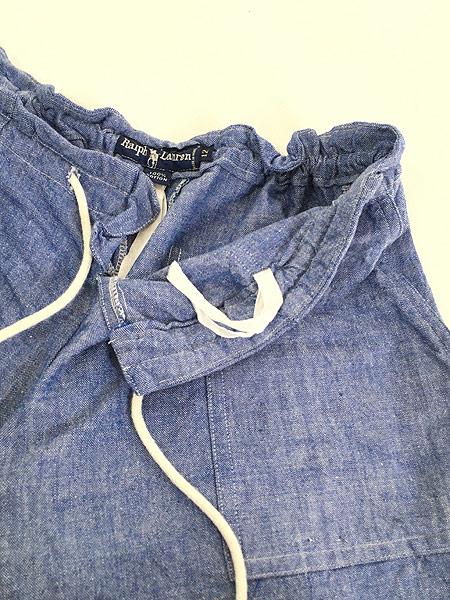 [4] レディース 古着 90s Ralph Lauren ラルフ ブルー シャンブレー ショーツ ショート パンツ XL位 古着